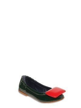 PATENT LEATHER FLATS W/ PADDED DETAIL