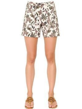 PRINTED WOOL & SILK MIKADO BLEND SHORTS