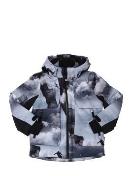 CLOUDS PRINT NYLON SKI JACKET