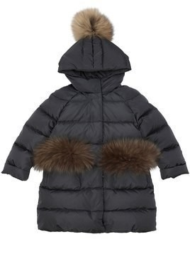 HOODED NYLON DOWN COAT W/ FUR DETAILS