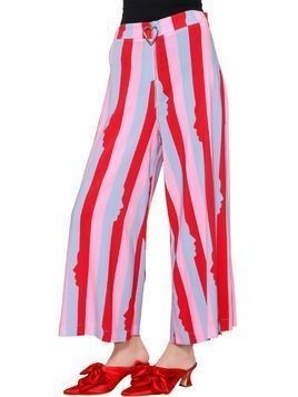 HEART ZIP STRIPED CADY CROPPED PANTS