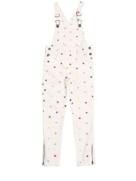 STAR EMBROIDERED STRETCH DENIM OVERALLS
