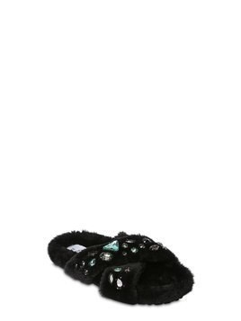EMBELLISHED FAUX FUR SLIDE SANDALS