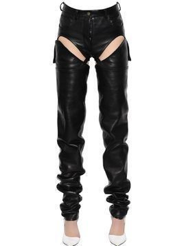 CUTOUT TRANSFORMER LEATHER PANTS