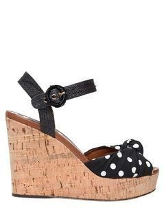112MM KEIRA CADY&RAFFIA WEDGE SANDALS