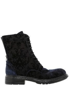 20MM PRINTED VELVET LACE UP ANKLE BOOTS