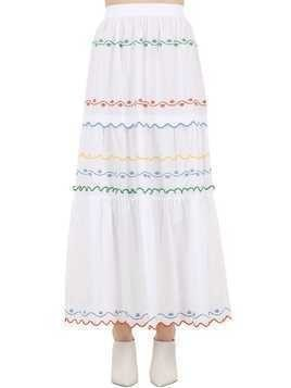 EMBROIDERED COTTON POPLIN LONG SKIRT