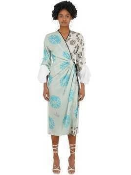 PATCHWORK SILK SATIN WRAP DRESS