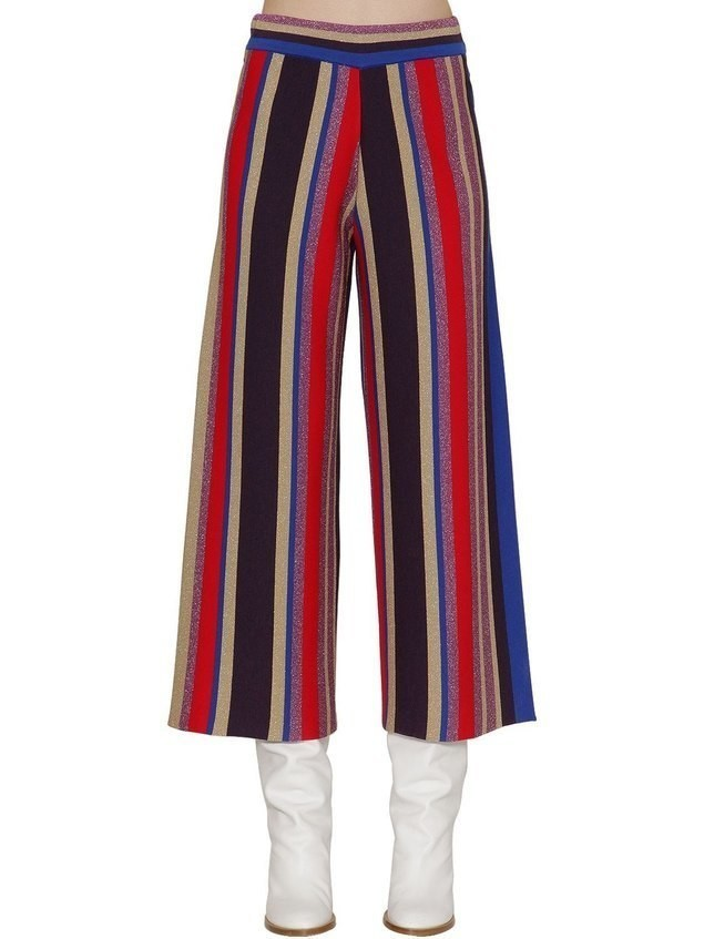 STRIPED LUREX WOOL BLEND WIDE LEG PANTS