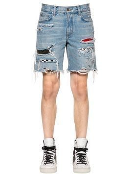 ART PATCH COTTON DENIM SHORTS