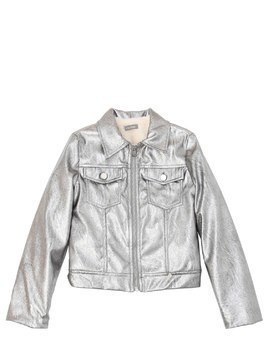FAUX LEATHER & FAUX FUR METALLIC JACKET