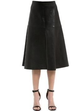 FLARED STRETCH LEATHER MIDI SKIRT