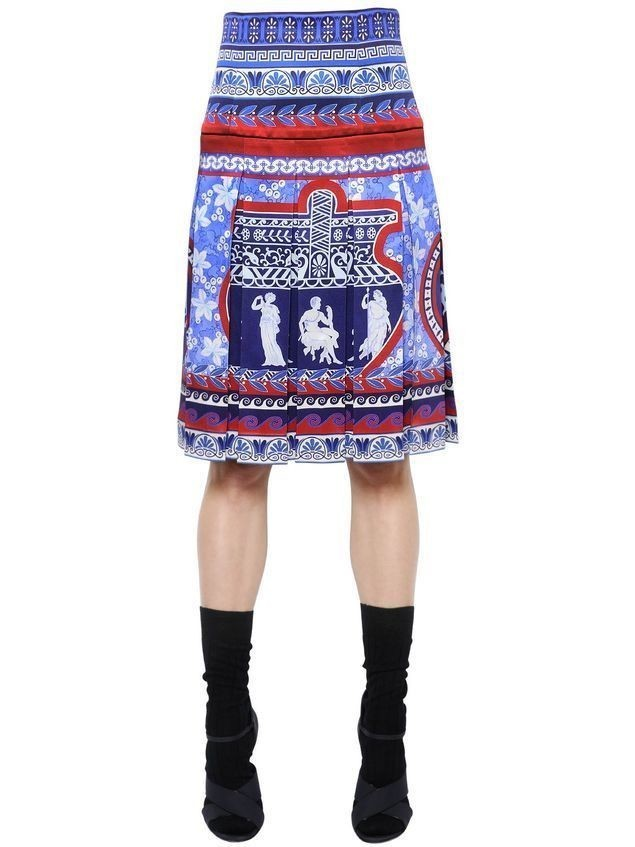 GHEIA PLEATED PRINTED SILK TWILL SKIRT