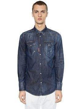 DARK WASH STRETCH DENIM WESTERN SHIRT