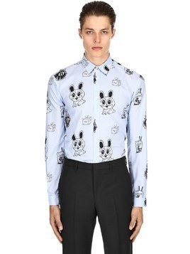 BUNNY STICKER PRINT COTTON POPLIN SHIRT