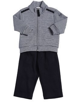 STRIPED COTTON SWEATSHIRT & SWEATPANTS