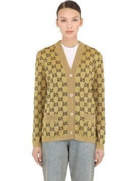 CRYSTAL LOGO INTARSIA WOOL KNIT CARDIGAN