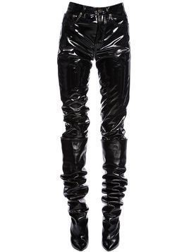 FAUX PATENT LEATHER PANTS