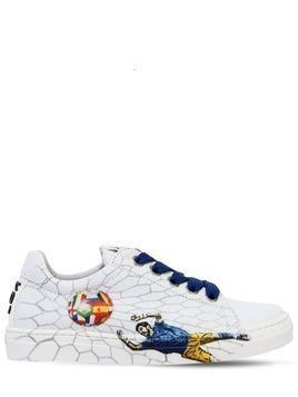 FOOTBALL PRINTED LEATHER SNEAKERS