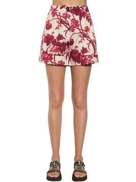 PRINTED COTTON BLEND SHORTS