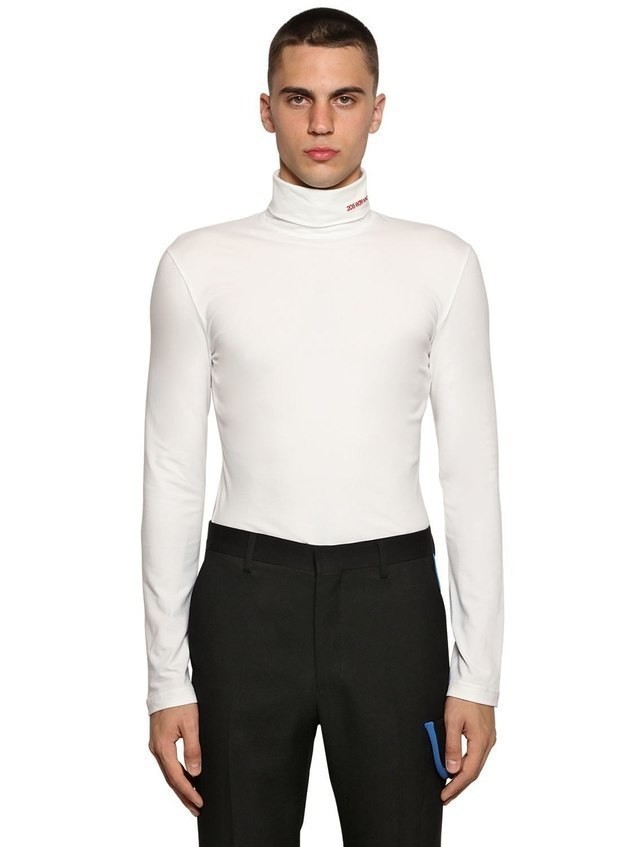 EMBROIDERED COTTON JERSEY TURTLENECK