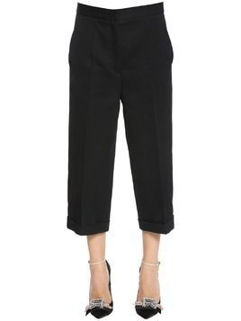 CROPPED COOL WOOL WIDE LEG PANTS