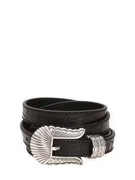 19MM THIN KIM NAPPA CROC EMBOSSED BELT