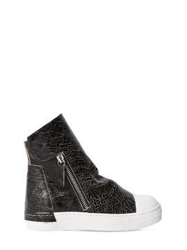 CRACKLED LEATHER ZIP-UP SNEAKERS