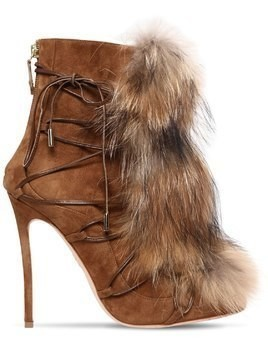 120MM RIRI SUEDE LACE-UP BOOTS W/ FUR
