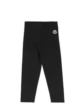COTTON JERSEY LEGGINGS W/ LOGO PATCH