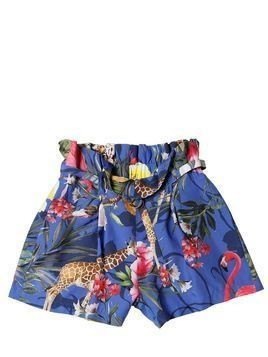 JUNGLE PRINT VISCOSE HIGH WAIST SHORTS