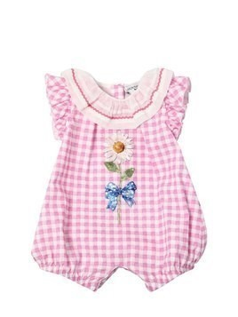GINGHAM PRINT COTTON POPLIN BODYSUIT