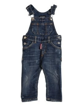 DESTROYED STRETCH COTTON DENIM OVERALLS