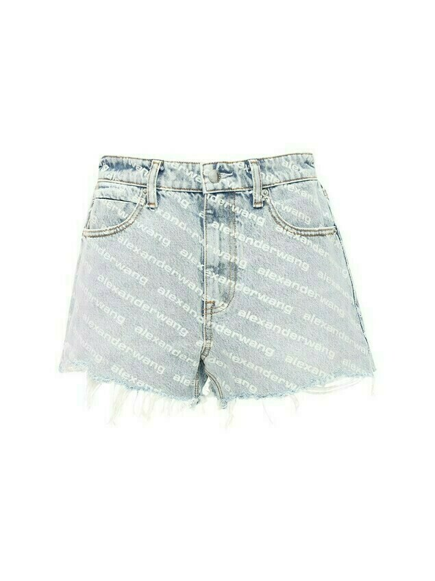 High Waist Flocked Logo Denim Shorts
