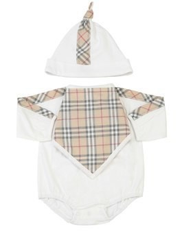 CHECK PRINT COTTON BODYSUIT, BIB & HAT