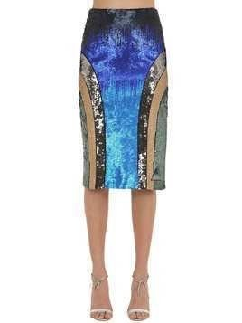 SEQUINED JERSEY PENCIL SKIRT