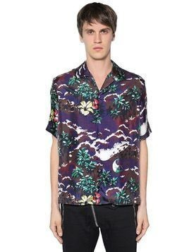 HAWAII PRINTED SILK SATIN BOWLING SHIRT