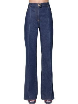 HIGH WAIST FLARED COTTON DENIM JEANS