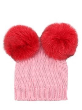 WOOL KNIT BEANIE HAT W/ FUR POMPOM