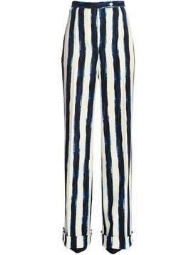 STRIPED WOOL BLEND FLANNEL PANTS