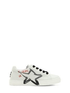 STARS PRINTED LEATHER SNEAKERS