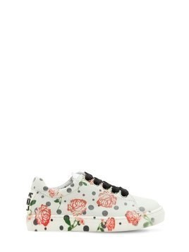 ROSE PRINTED LEATHER SNEAKERS