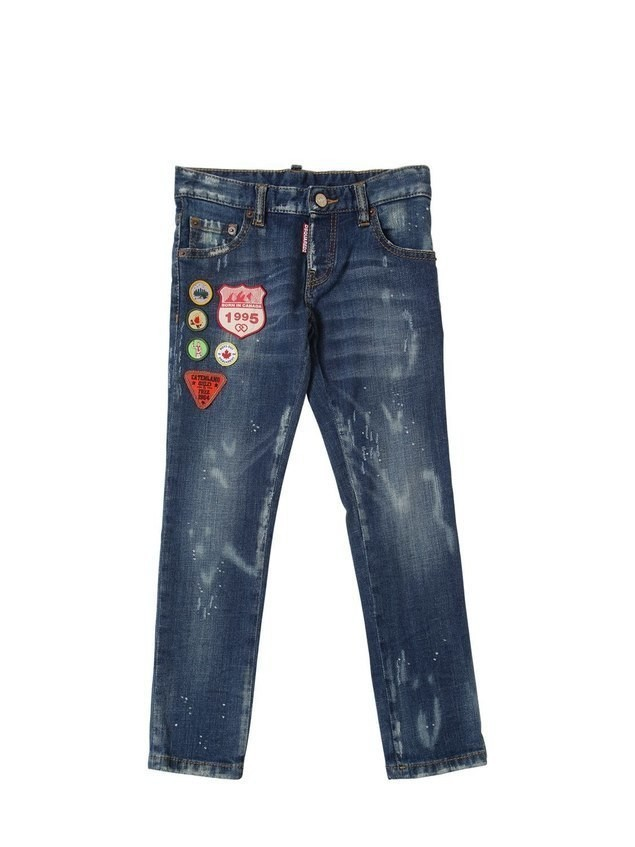 STRETCH COTTON DENIM JEANS W/ PATCHES