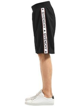 ACETATE JERSEY SHORTS W/ LOGO BANDS