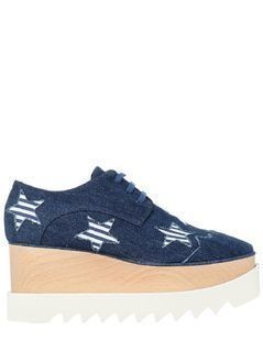 75MM ELYSE RAW CUT DENIM WEDGES