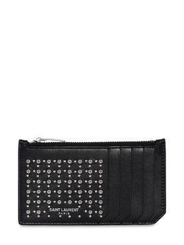 STUDS & EYELETS LEATHER ZIP CARD HOLDER