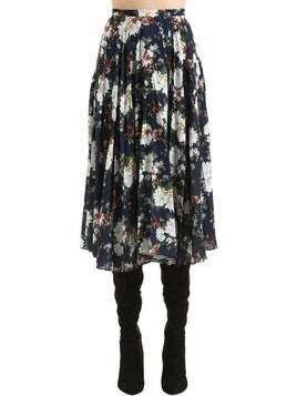 FLORAL PRINT PLEATED CREPE MIDI SKIRT