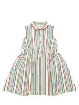 STRIPED WOVEN COTTON DRESS