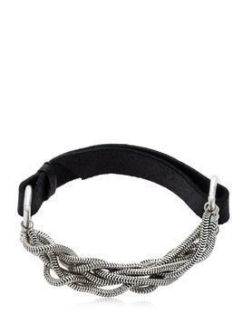 LEATHER & BRAIDED SILVER CHAIN BRACELET