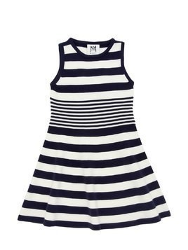 STRIPED VISCOSE BLEND KNIT OTTOMAN DRESS